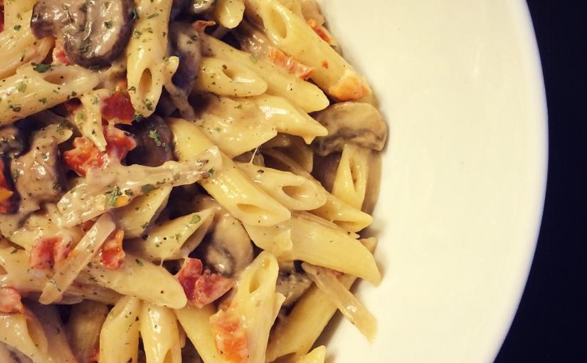 recipe :: penne in a creamy mushroomsauce